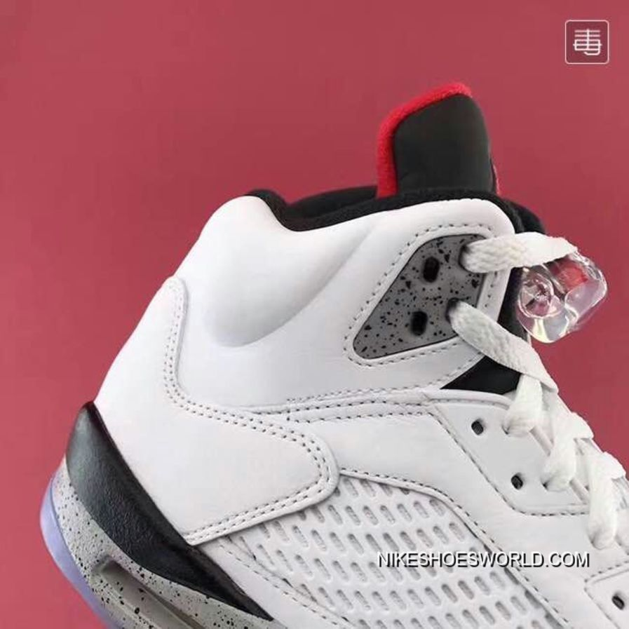 """best sneakers 5e182 4e1aa Air Jordan 5 """"White/Cement"""" White/Fire Red-Tech Grey-Black New Style"""