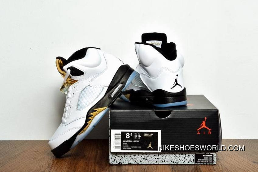 "newest ceb81 839e7 Air Jordan 5 ""Olympic Gold Medal"" White/Black-Metallic Gold Coin New Release"